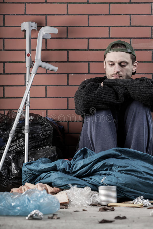 Ill homeless young man royalty free stock photos