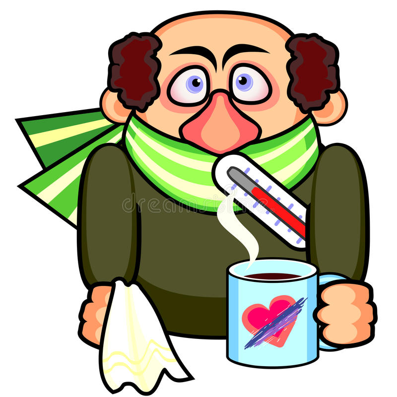 Ill man. With thermometer and mug with hot beverage stock illustration