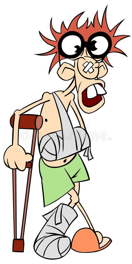Ill man with crutches and broken leg and arm. Illustration of sick man in big glasses with crutches and broken leg and arm royalty free illustration