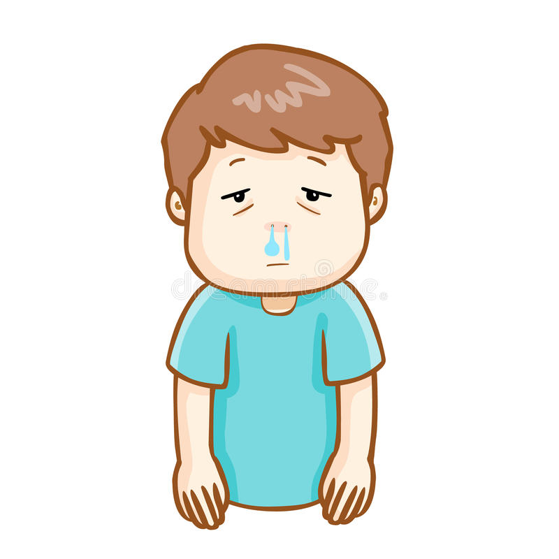 Ill man runny nose cartoon. Ill man runny nose because flu disease stock illustration
