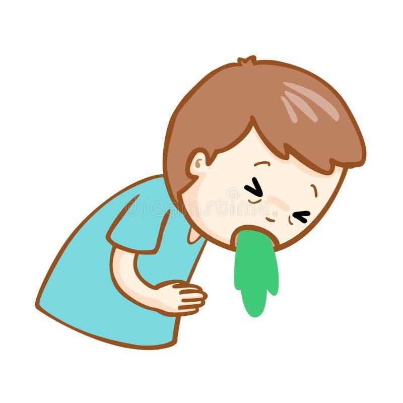Ill man vomiting cartoon. Ill man vomiting because food poisoning vector illustration