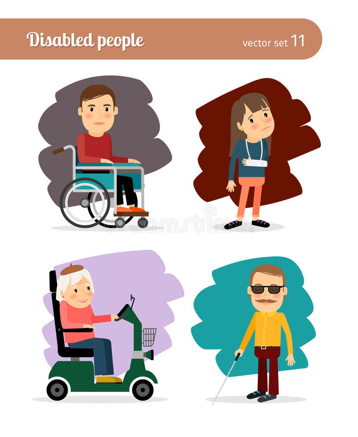 Ill people characters. Blind man, broken arm, and people on wheelchair. Ill people characters royalty free illustration