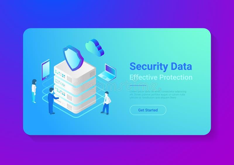 Ill piano isometrico di vettore di protezione dei dati di sicurezza illustrazione di stock