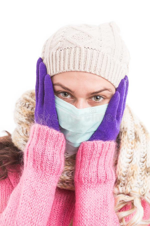 Ill woman having fever and headache because of grippe stock photos