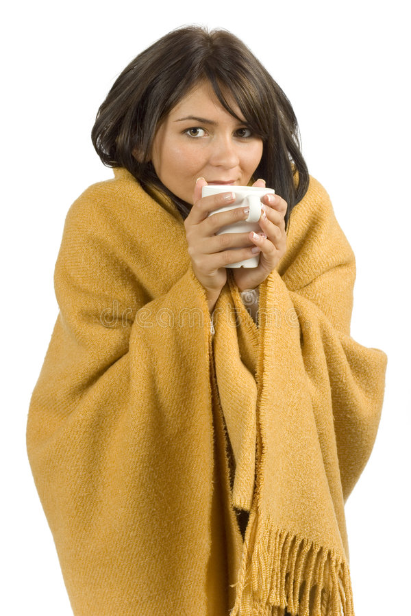 Ill woman with hot cup stock images