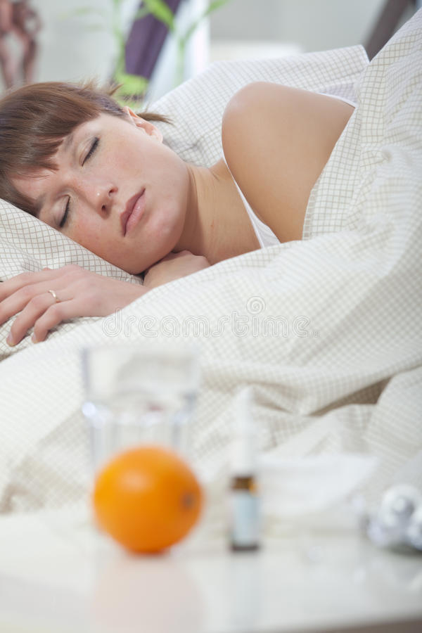 Download Ill woman sleeping stock image. Image of attractive, young - 17129627