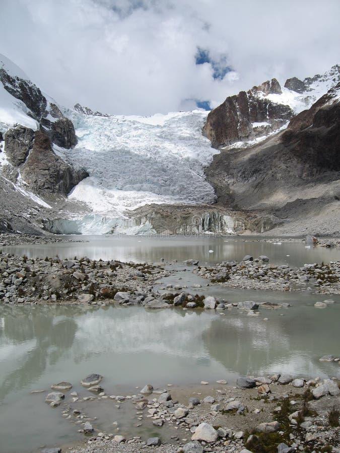 Illampu's Laguna Glacier, Bolivia stock photo