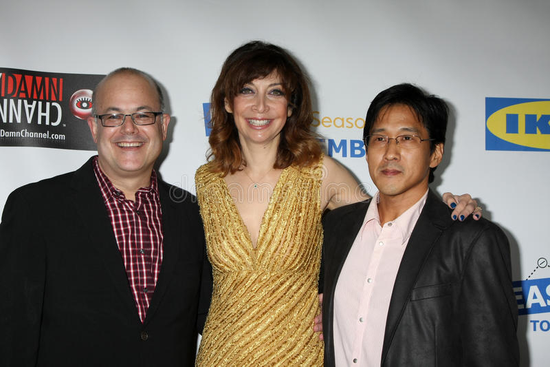 Illeana Douglas, Michael Kang, Rob Burnett fotos de stock