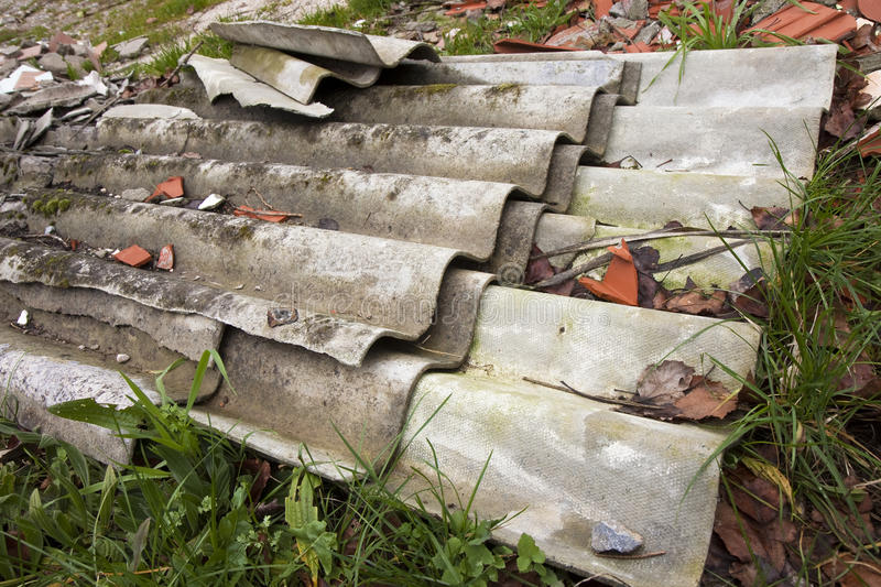 Illegal asbestos Dumping. Medical studies have shown that the asbestos particles can cause cancer stock photography