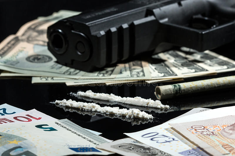 Illegal Drugs , Money And Guns Stock Image - Image of ...