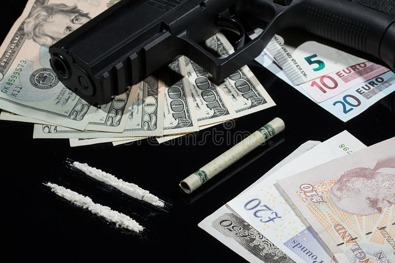Illegal Drugs Money And Guns Stock Image Image Of