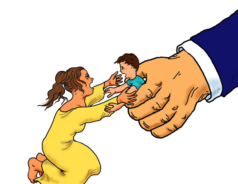 Illegal immigrant child detention. Illegal immigrant child separated from family by government royalty free illustration
