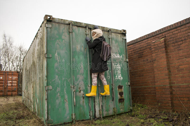 Illegal Immigrant. Photo of a female illegal immigrant trying to cross border stock photography