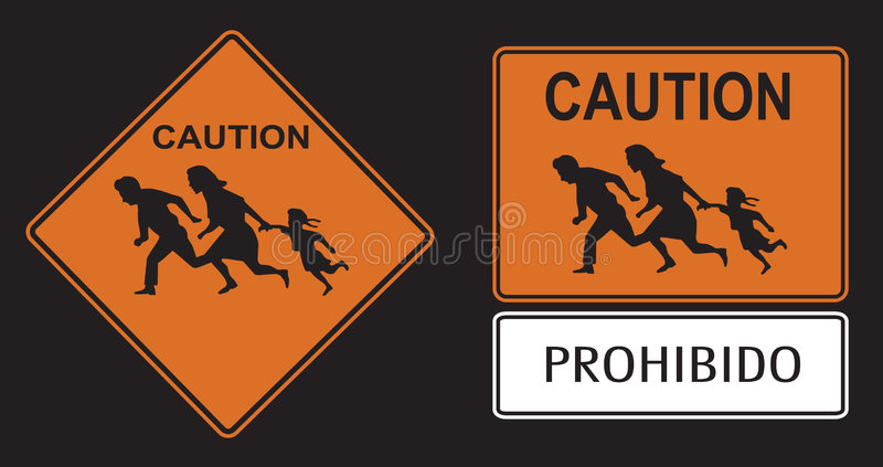 Illegal immigration. Crossing caution sign royalty free illustration