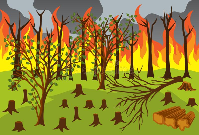 Illegal Logging and Forest Fires Vector Illustration. Illegal Logging and Forest Fires for many purpose such as illustration on education book, blog, environment royalty free illustration