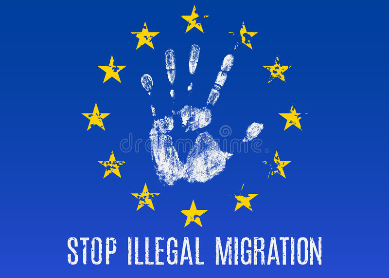 Illegal migration stock illustration
