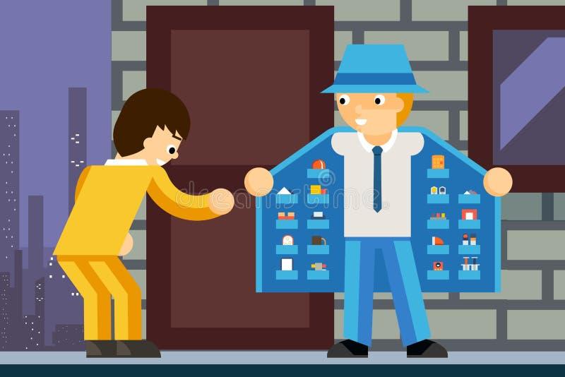 Illegal product dealer. Narcotic and client, deal criminal, inner pocket, vector illustration stock illustration