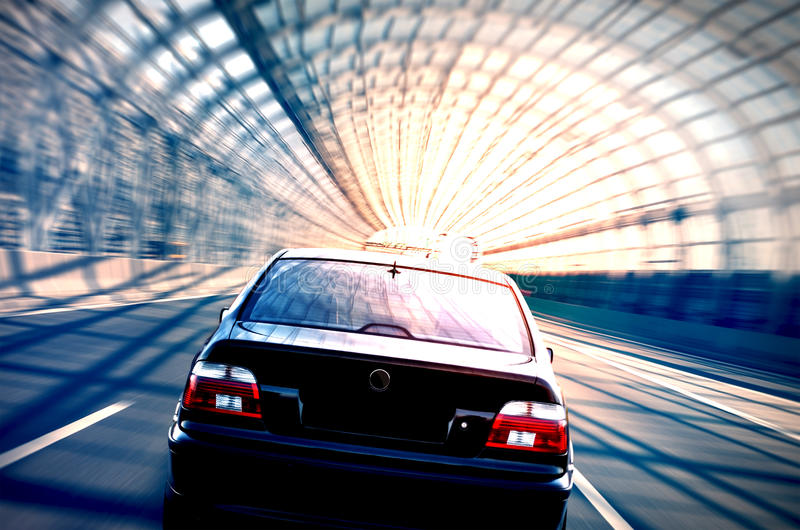 Illegal street race shot with motion blurr effect royalty free stock photo