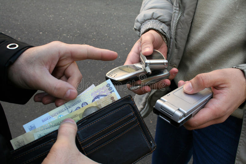 Illegal trade. A illegal mobile trade in the street stock image