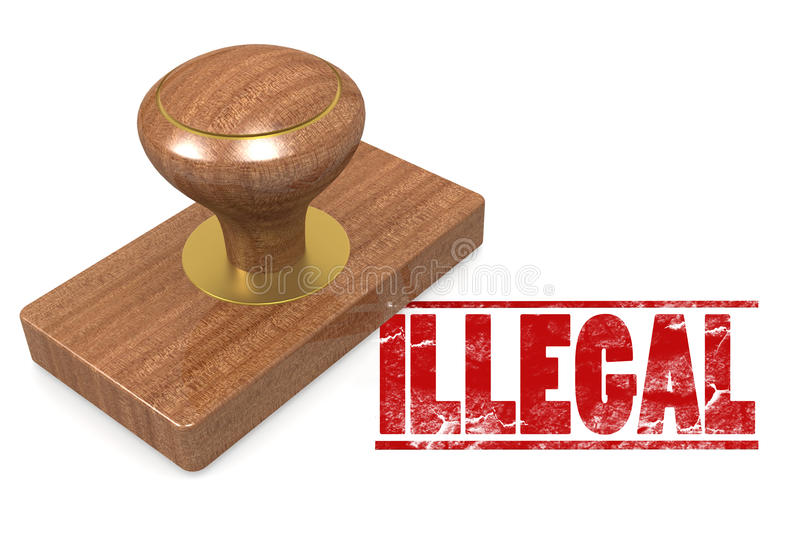 Illegal wooded seal stamp. Image with hi-res rendered artwork that could be used for any graphic design stock illustration