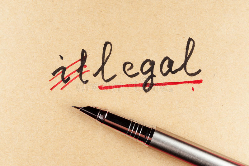 Illegale a legale fotografie stock