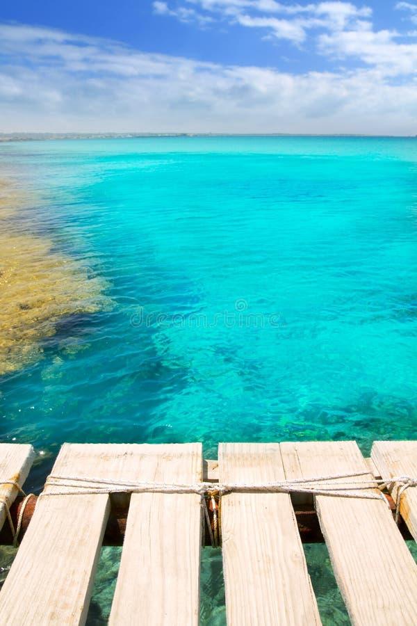Illeta Wooden Pier Turquoise Sea Formentera Stock Photography