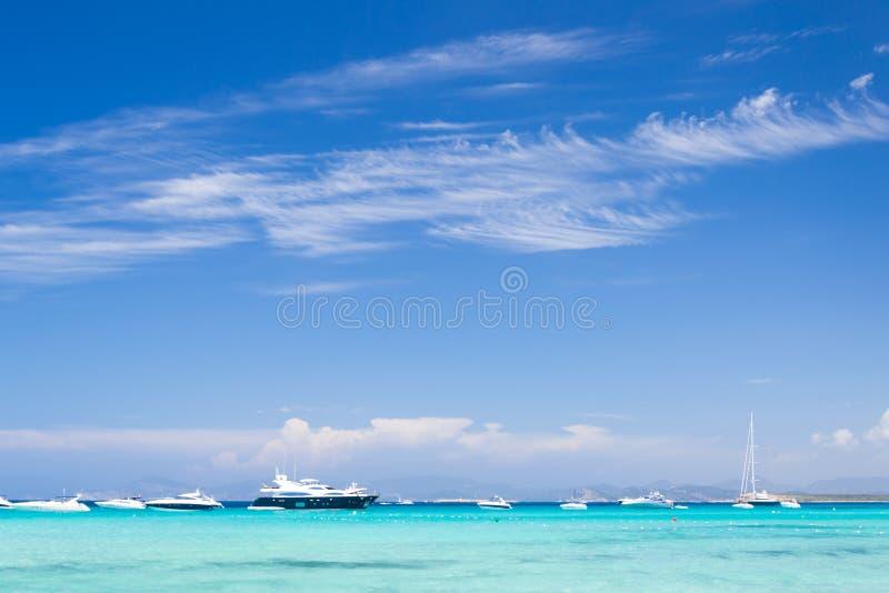 Illetes海滩,福门特拉岛海岛,巴利阿,西班牙 库存图片