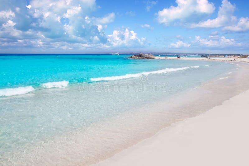 Illetes Formentera东部海滩热带绿松石 免版税库存照片