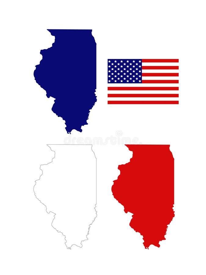 Illinois översikter med USA flaggan - tillstånd i Förenta staterna royaltyfri illustrationer