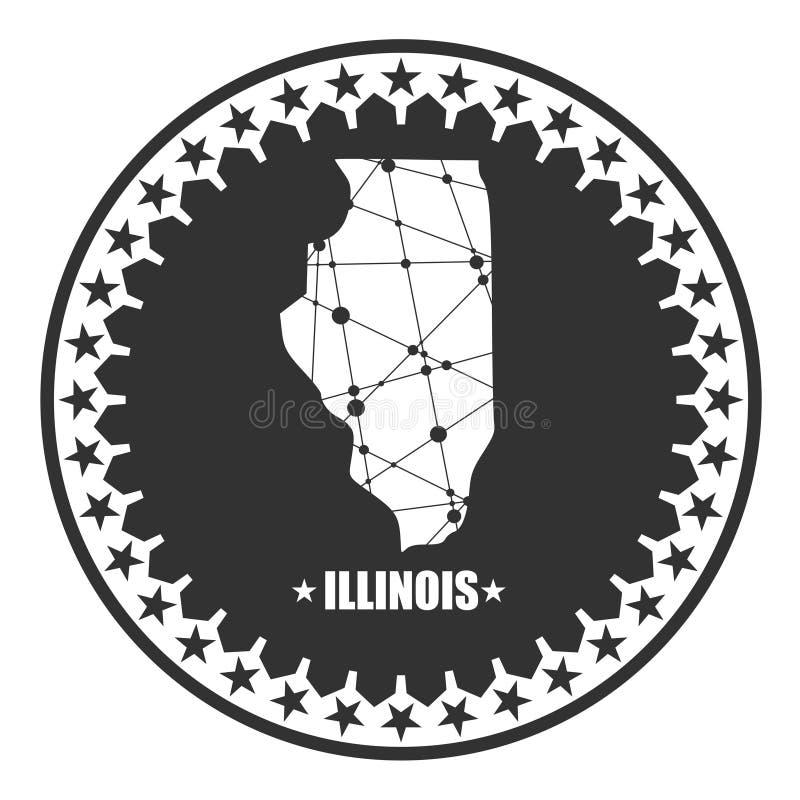 Карта государства Иллинойса иллюстрация вектора