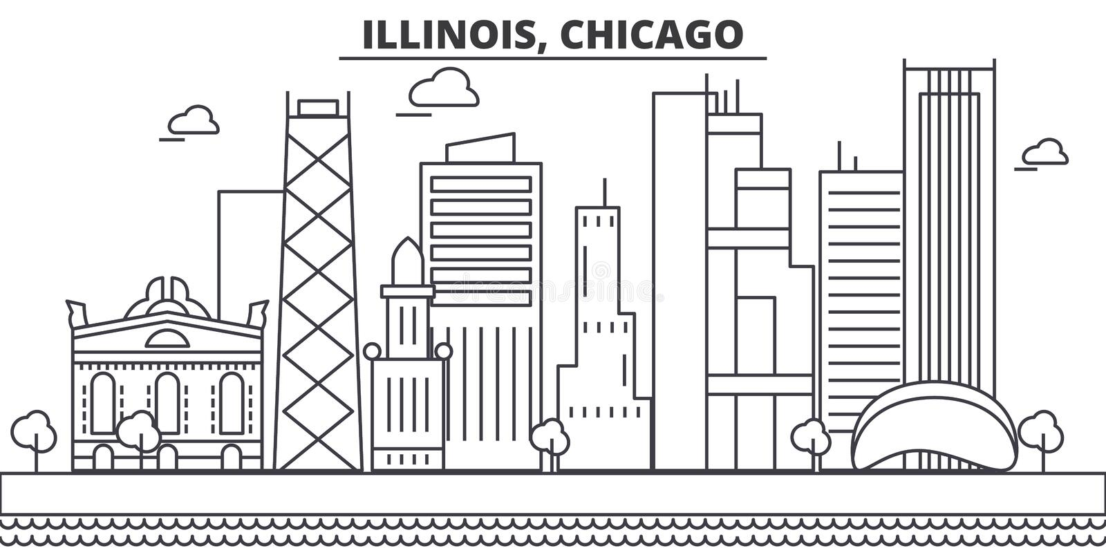 Illinois, Chicago architecture line skyline illustration. Linear vector cityscape with famous landmarks, city sights. Design icons. Editable strokes royalty free illustration