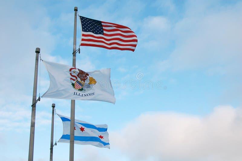 Illinois, Chicago e bandiera americana immagine stock libera da diritti