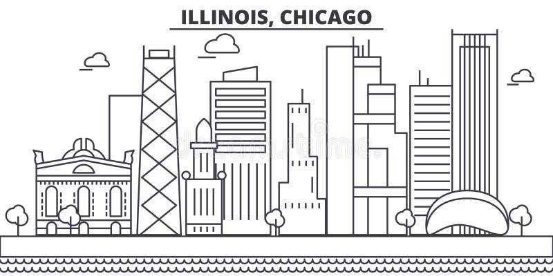 Illinois, Chicagowska architektury linii linii horyzontu ilustracja Liniowy wektorowy pejzaż miejski z sławnymi punktami zwrotnym royalty ilustracja