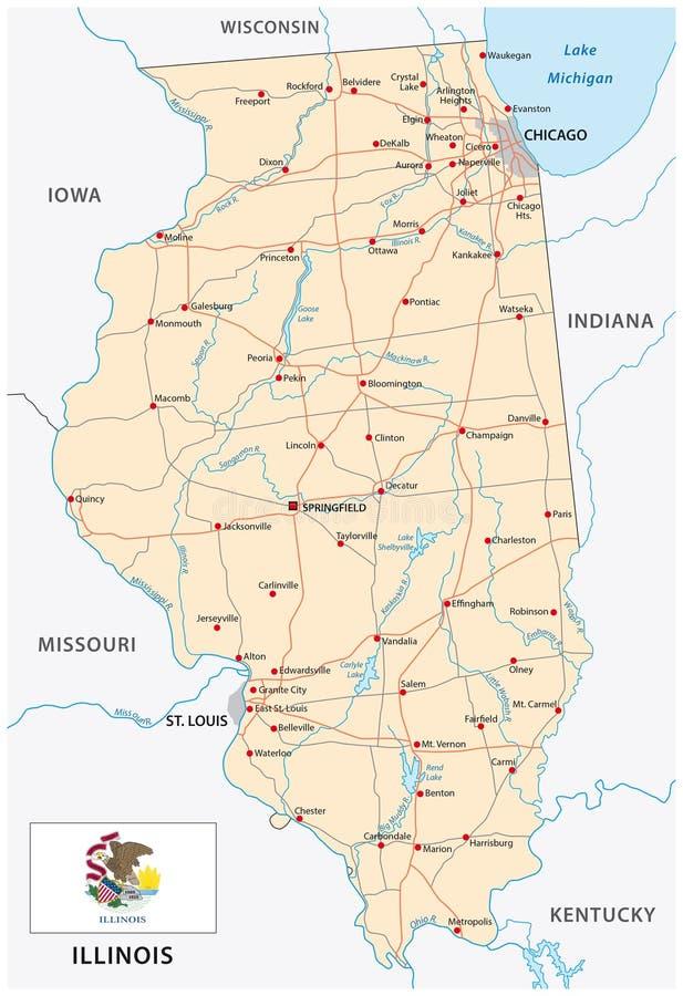 Illinois drogowa mapa z flaga ilustracja wektor