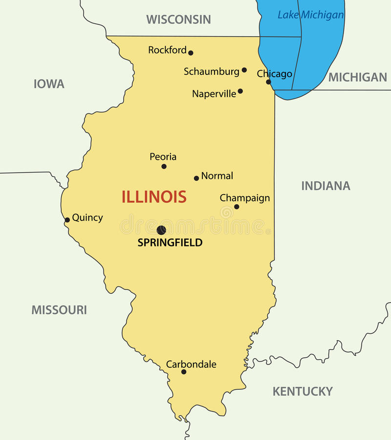 Illinois Estado Del Mapa De Los EEUU Ilustración Del Vector - Mapa de illinois