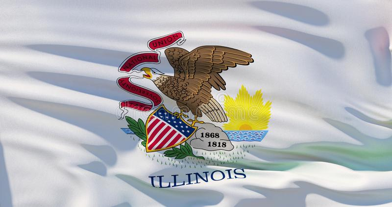 Illinois Flag, High quality detailed 3d illustration stock illustration