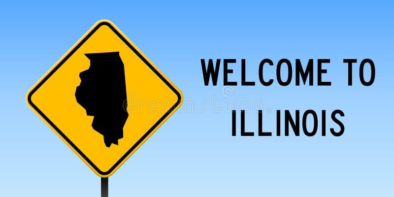 Illinois mapa na drogowym znaku ilustracja wektor