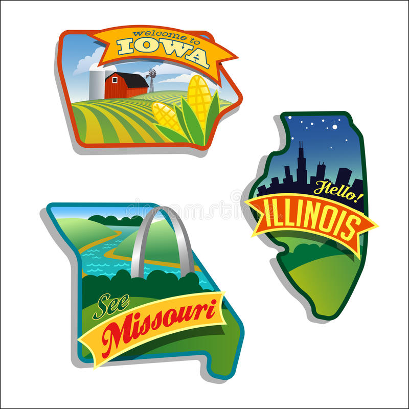 Illinois Missouri Iowa vector illustrations designs US series. Retro luggage stickers of States