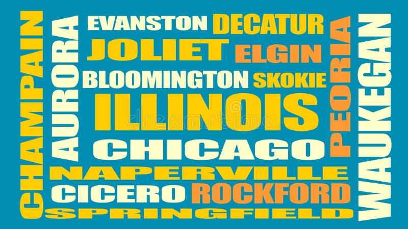 Illinois state cities list stock illustration