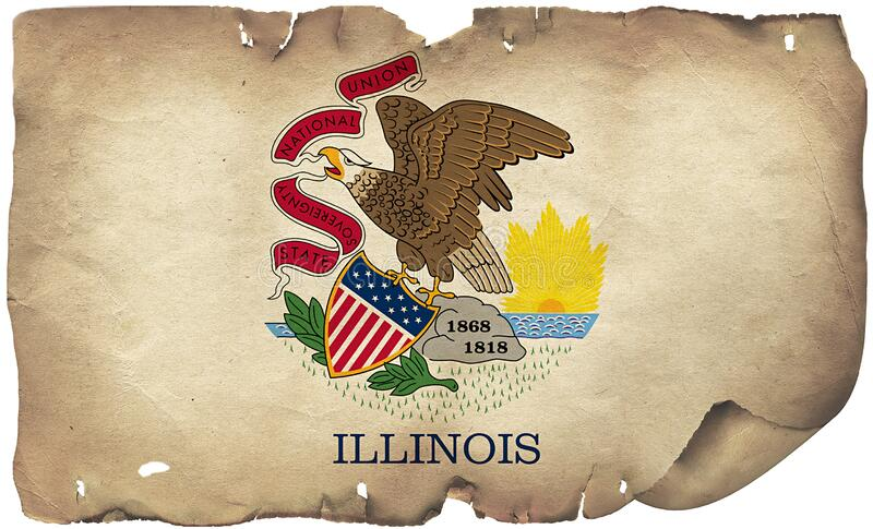 Illinois State Flag On Old Paper. A grunge Illinois state flag on old torn paper royalty free stock photo