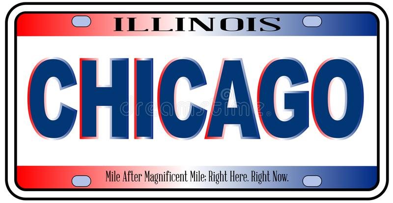 Illinois State License Plate Chicago City vector illustration