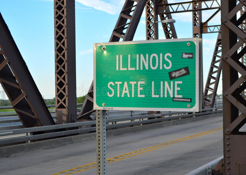 Illinois State Line Sign at McKinley Bridge