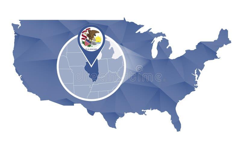 Illinois tillstånd förstorat på Förenta staternaöversikt stock illustrationer