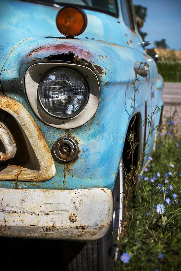 Illinois, United States, circa June 2016 - old classic rusted Chevrolet pickup truck parked on route 66. Old classic rusted Chevrolet pickup truck parked on stock photography