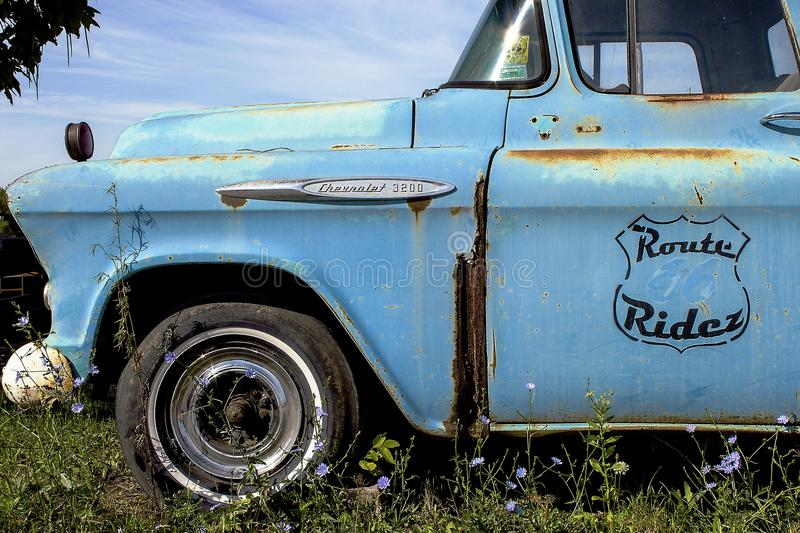 Illinois, United States - circa June 2016 - Old pickup truck parked at cruzin 66 gift shop on route 66. Old chevy pickup truck at cruzin 66 gift shop on route 66 stock images