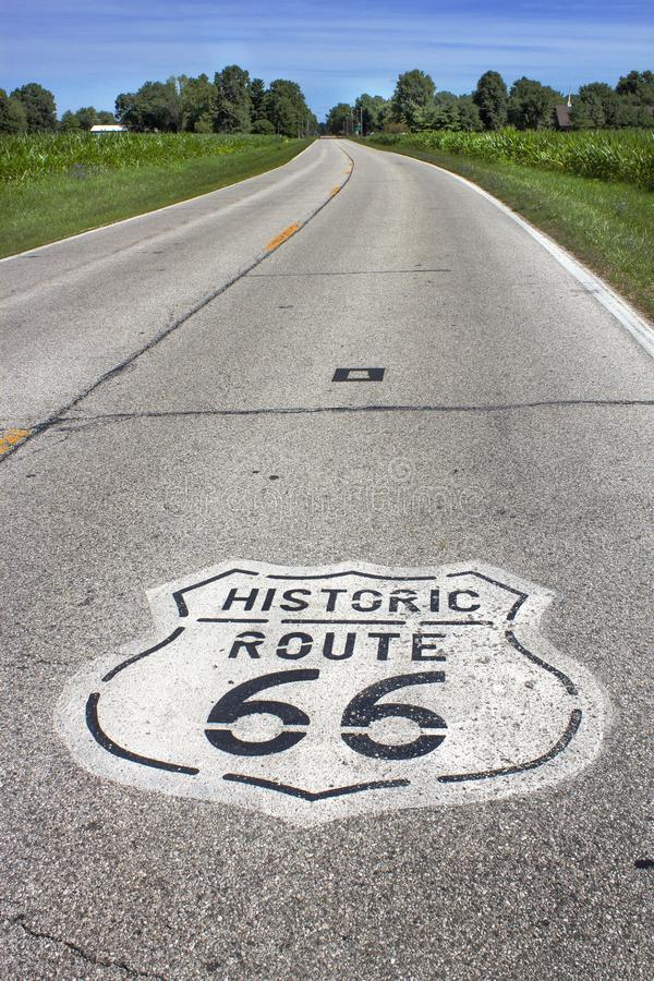 Illinois, United States - circa June 2016 - two lane route 66 sign painted on road in Midwest stock image