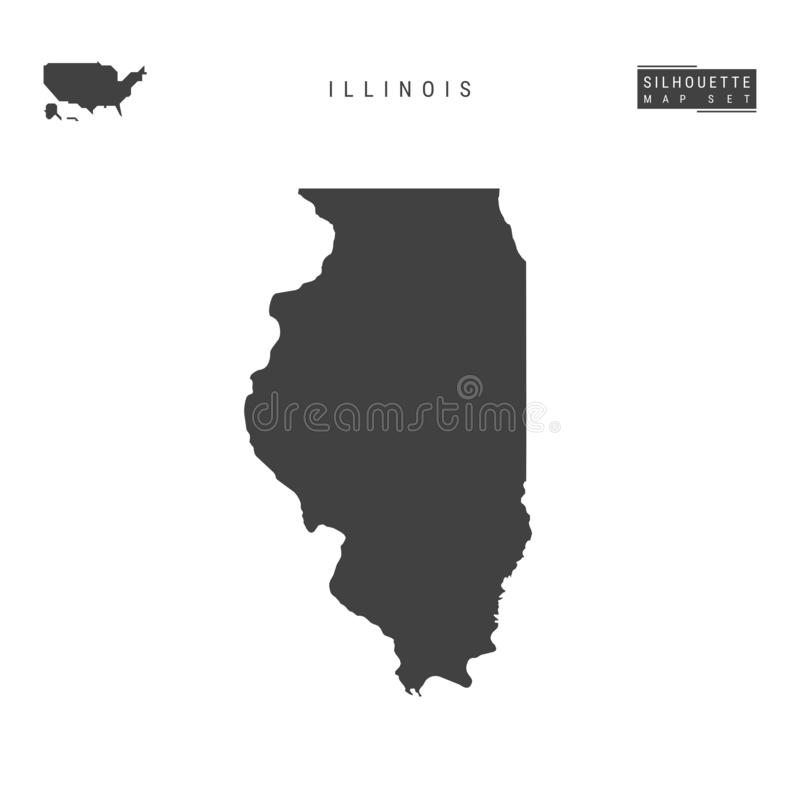 Illinois USA påstår vektoröversikten som isoleras på vit bakgrund Hög-specificerad svart konturöversikt av Illinois royaltyfri illustrationer