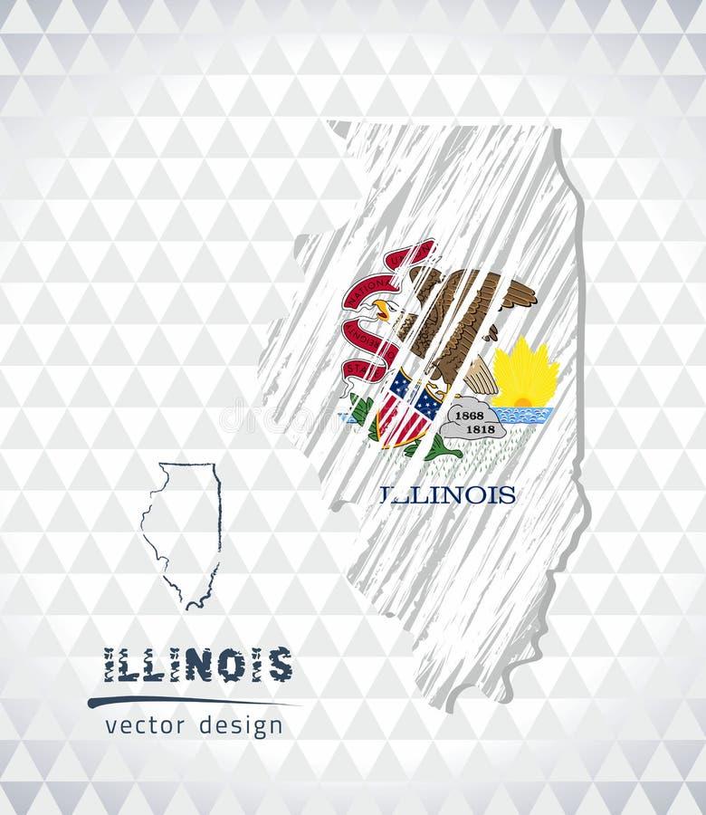 Illinois vektoröversikt med flaggainsidan som isoleras på en vit bakgrund Skissa drog illustrationen för krita handen stock illustrationer
