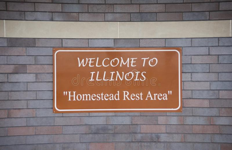 Illinois Welcome Center, Homestead Rest Area. Illinois a state in the Midwestern region of the United States. It is the 6th-most populous U.S. state and 25th stock images