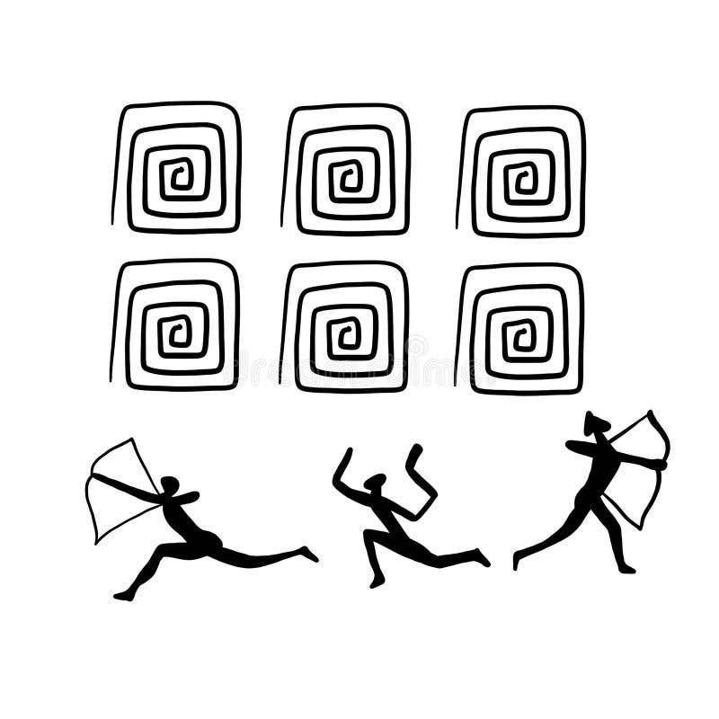 Illistration de la peinture de roche Foudroyez les dessins homme et le chiffre peintures primitives d'âge de pierre d'anthropolog illustration de vecteur